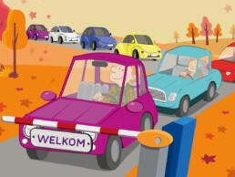 Indigo illustratie auto's herfst