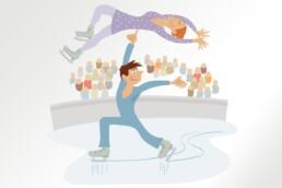 technopolis illustratie schaatsers