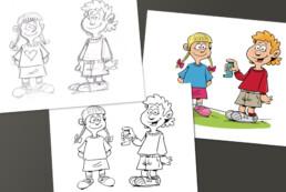 sandoz stripverhaal karakters uitwerken