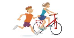technopolis illustratie fietsers