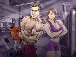 tekening bodybuilders